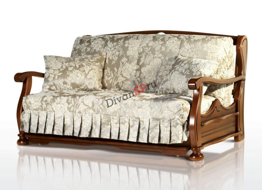 Диван-аккордеон Фрегат с деревянныви подлокотниками белый