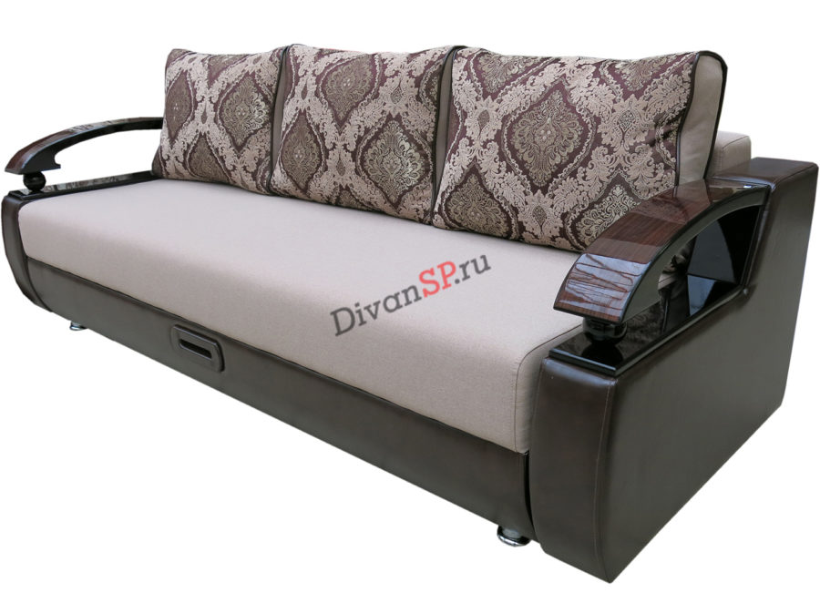 коричневый диван-пантограф Леонардо с деревянными подлокотниками