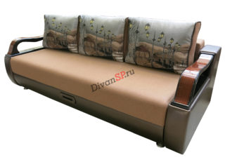 Раскладной диван Леонардо с шагающим механизмом пантограф коричневый