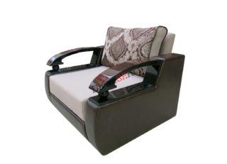 кресло с деревянными подлокотниками Леонардо коричневое