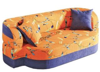 Оранжевый раскладной диван без каркаса Катрин