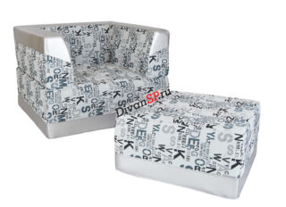 Бескаркасное кресло-кровать с пуфом Комбо серое