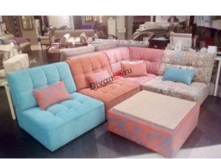 Модульный угловой диван Домино с пуфом розовый