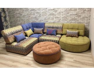 модульный диван Домино с пуфом цветной