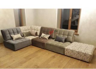 диван из кресельных модулей Домино серый с бежевым