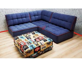 угловой модульный диван Домино синий
