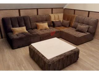 диван из кресельных модулей Домино коричневый