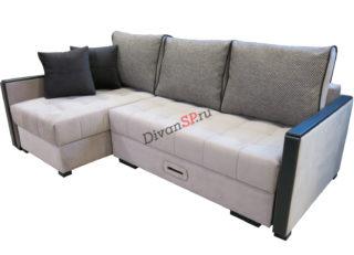 угловой диван Далас серый, шагающий механизм трансформации