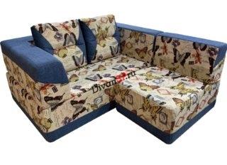 Бескаркасный набор диван и кресло Комбо синий