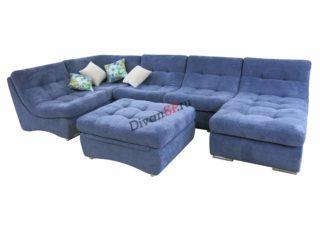 Синий раскладной модульный диван с пуфом