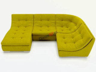 Зелёный П-образный модульный диван Комфорт