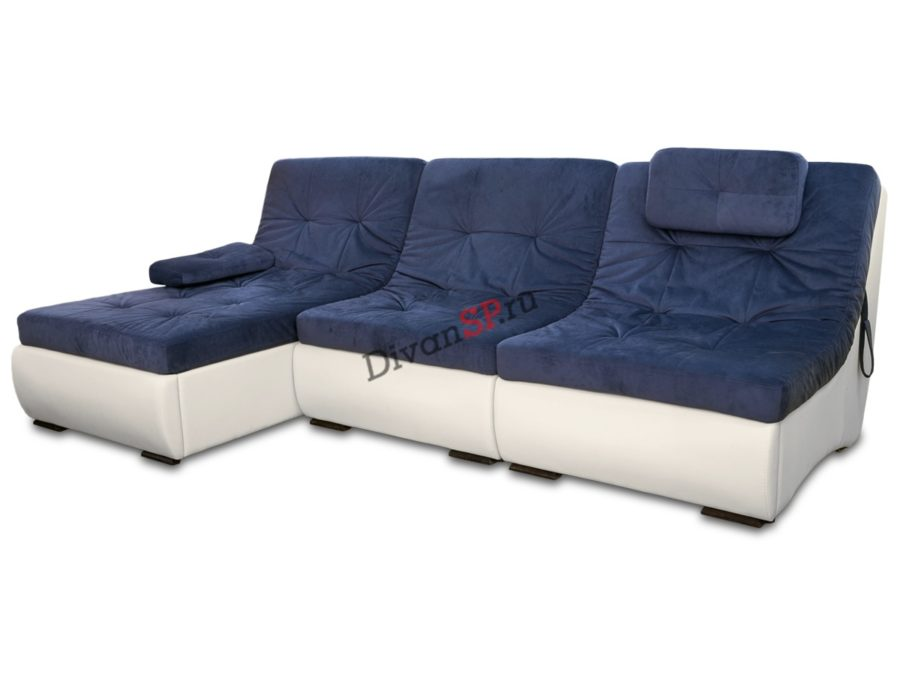 Синий угловой модульный диван Комфорт
