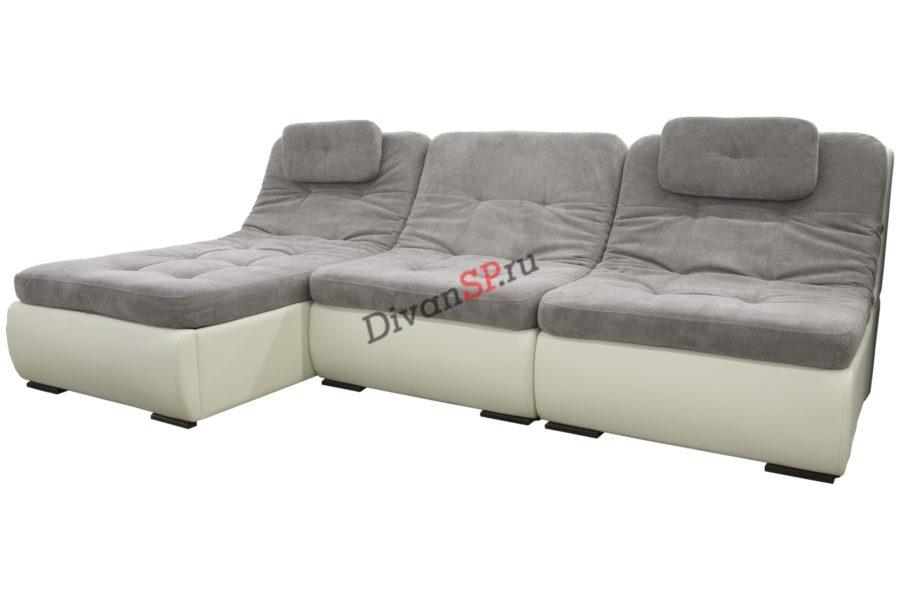 модульный диван-кровать Комфорт с подголовниками серый