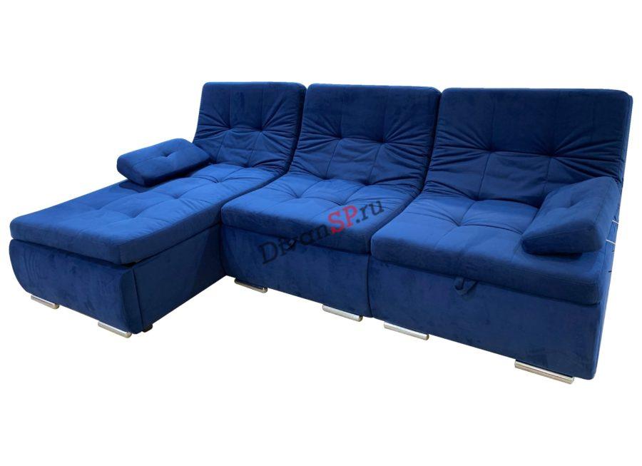 Синий угловой модульный диван-кровать Комфорт