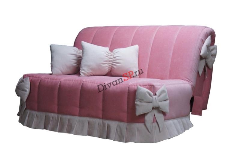 Диван аккордеон без подлокотников Амелия розовый