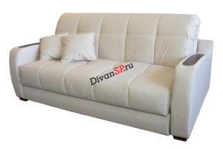 Белый диван-аккордеон меркурий со съемным чехлом и дубовыми накладками