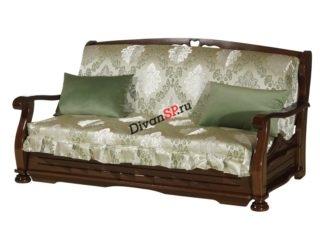 Зелёный диван-аккордеон с деревянными подлокотниками