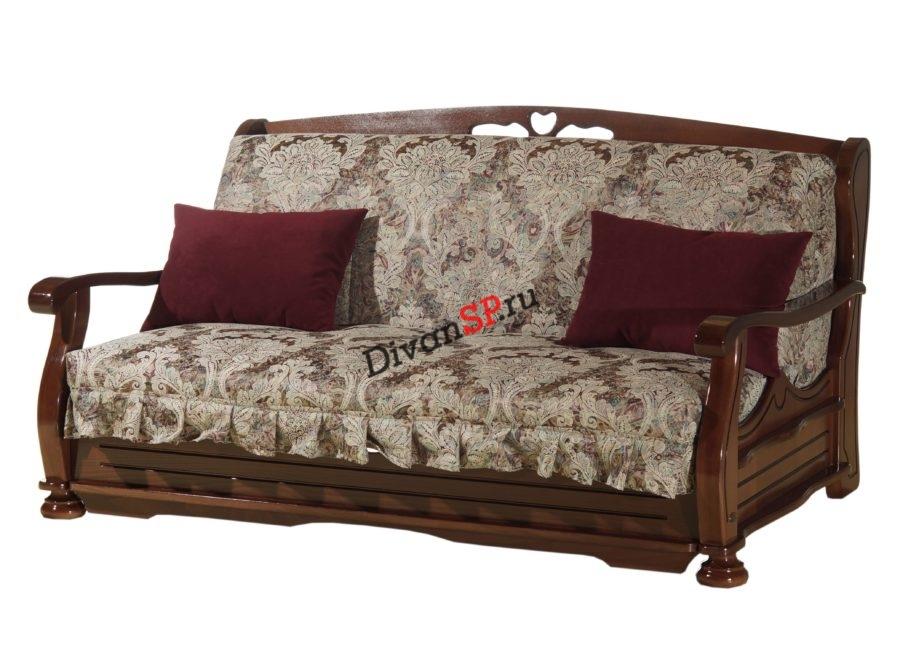 Коричневый диван аккордеон Фрегат на металлокаркасе с деревянными подлокотниками