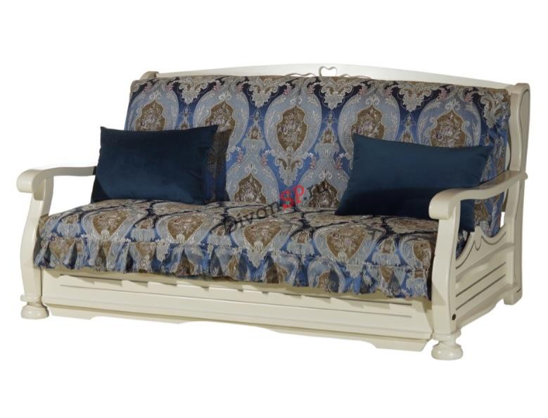 Синий диван-аккордеон Фрегат на металлокаркасе с деревянными подлокотниками