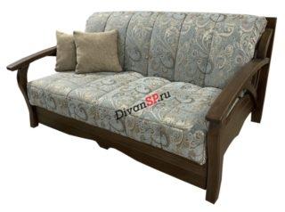 Раскладной диван аккордеон с деревянными подлокотниками