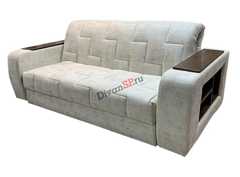 диван аккордеон с деревянными подлокотниками белый