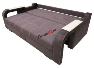Диван-кровать ортопедический с шагающим подлокотником Леонардо-06 коричневый