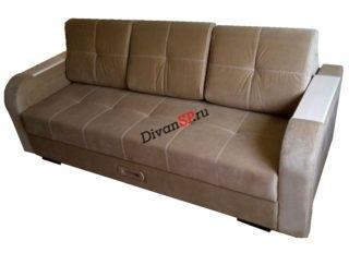 Прямой диван пантограф с шагающим подлокотником Леонардо-06 коричневый