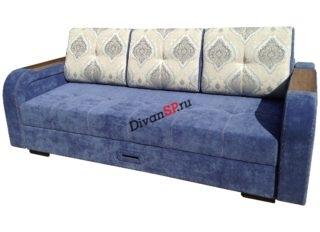 Ортопедический диван с шагающим подлокотником Леонардо-06 синий